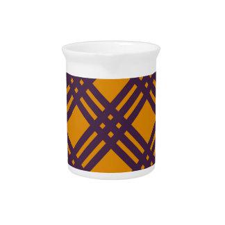 Enrejado púrpura y anaranjado jarras para bebida