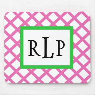 Enrejado rosado Mousepad con monograma Tapetes De Ratón