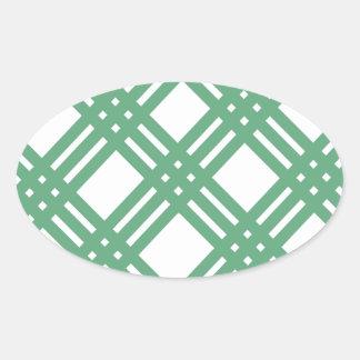 Enrejado verde y blanco pegatina ovalada