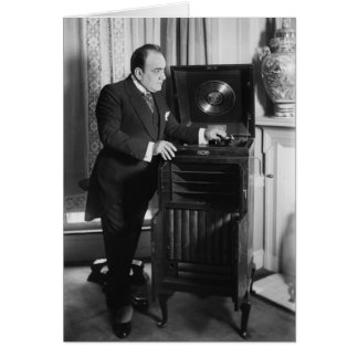 Enrico Caruso with a Victrola Brand Phonograph Card
