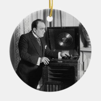 Enrico Caruso with a Victrola Brand Phonograph Ceramic Ornament
