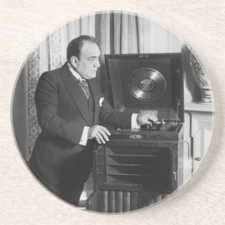Enrico Caruso with a Victrola Brand Phonograph Coaster
