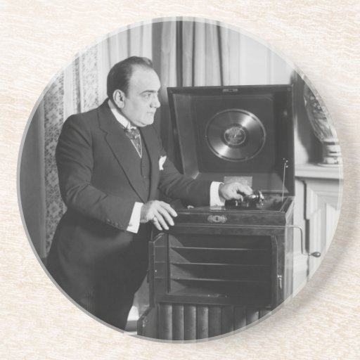 Enrico Caruso with a Victrola Brand Phonograph Drink Coasters