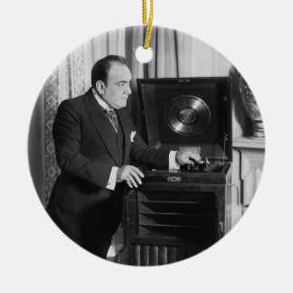 Enrico Caruso with a Victrola Brand Phonograph Double-Sided Ceramic Round Christmas Ornament