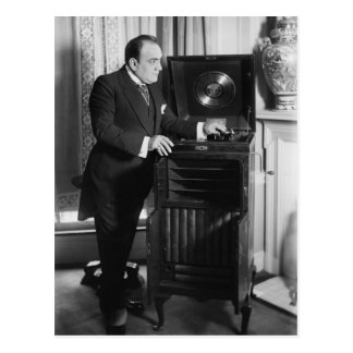 Enrico Caruso with a Victrola Brand Phonograph Postcard