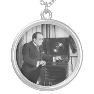 Enrico Caruso with a Victrola Brand Phonograph Silver Plated Necklace