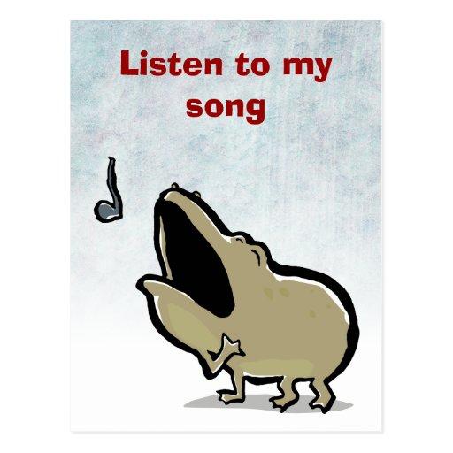 enrico, the singing frog - editable text postcard