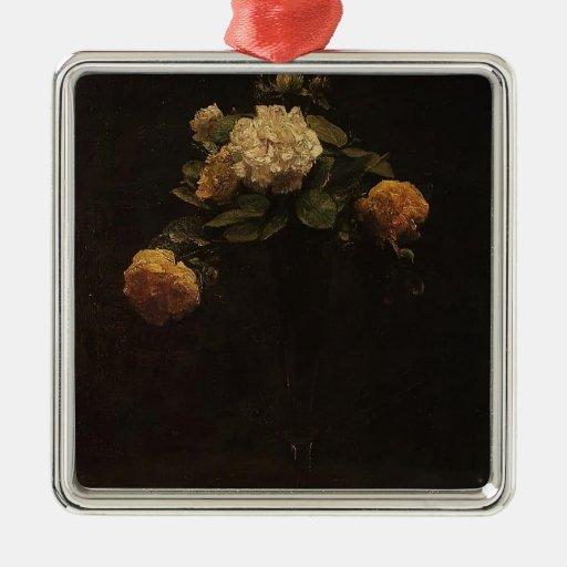 Enrique rosas blancos y amarillos de Latour- en un Adornos