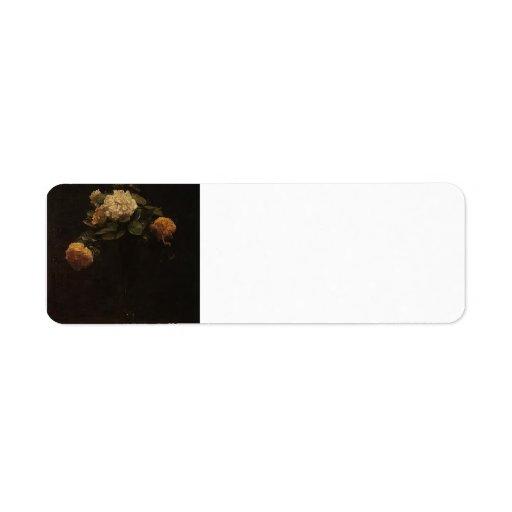 Enrique rosas blancos y amarillos de Latour- en un Etiquetas De Remite