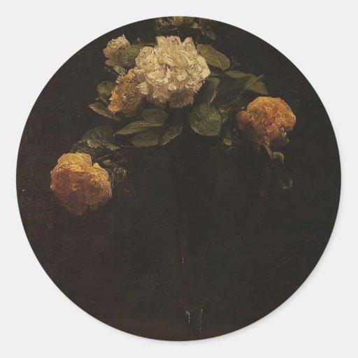Enrique rosas blancos y amarillos de Latour- en un Etiquetas