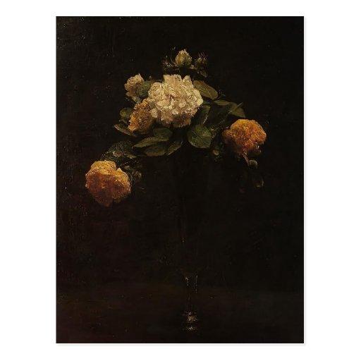 Enrique rosas blancos y amarillos de Latour- en un Postales