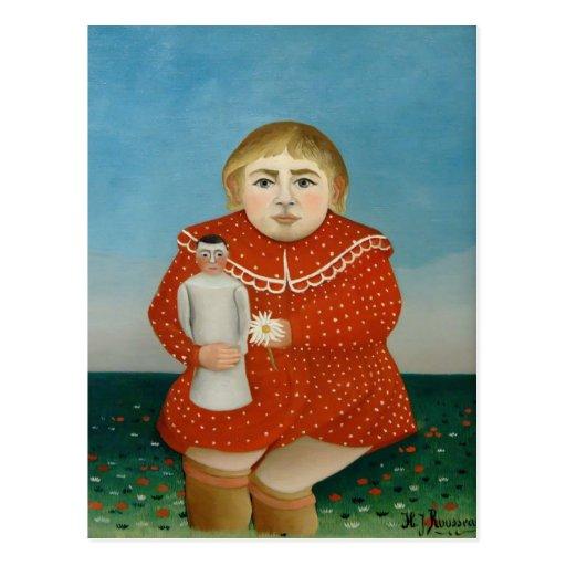 Enrique Rousseau- el chica con una muñeca Tarjeta Postal
