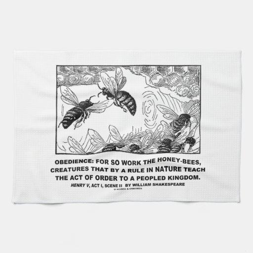 Enrique V Shakespeare de las abejas del trabajo de Toalla