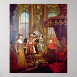 Enrique VIII que presenta a Ana Bolena en la corte Póster
