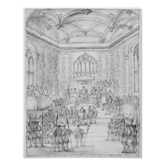 Enrique VIII que recibe Montmorency Póster