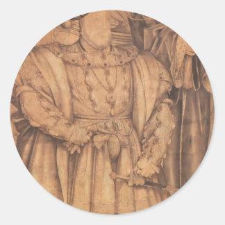 Enrique VIII y Henry VII de Hans Holbein- Pegatina Redonda