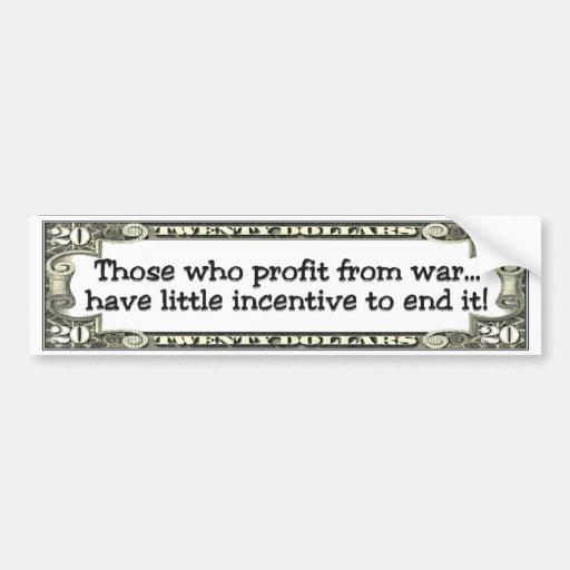 enriquecido ilícitamente de la guerra etiqueta de parachoque