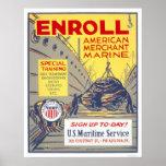Enroll American Merchant Marine - WPA Poster