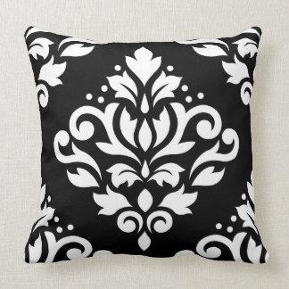 Enrolle el blanco grande del diseño del damasco cojín decorativo