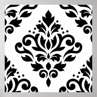 Enrolle el negro grande del diseño del damasco (b) póster