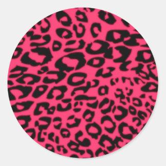 Enrrollado rosado pegatina redonda