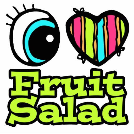 Ensalada de fruta brillante del amor del corazón I Llavero Fotográfico