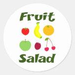 Ensalada de fruta etiquetas redondas
