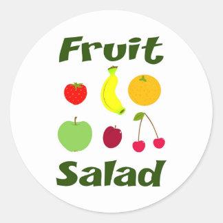 Ensalada de fruta pegatina redonda