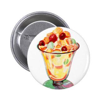 Ensalada de fruta retra de la publicidad del kitsc pin redondo 5 cm