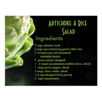 Ensalada de la alcachofa y del arroz… tarjeta postal