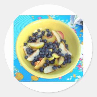 Ensalada de la fruta de Judy Pegatina Redonda