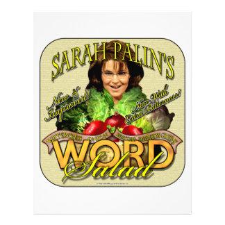 Ensalada de la PALABRA de Sarah Palin Membretes Personalizados