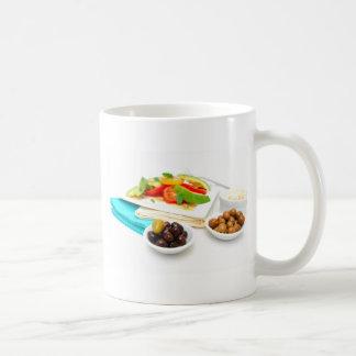 Ensalada del aguacate taza de café