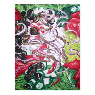 Ensalada del friki del arte original de la pintura postales