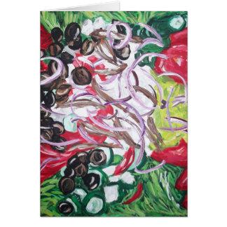 Ensalada del friki del arte original de la pintura tarjeta de felicitación