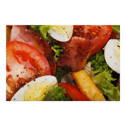 Ensalada del tomate y del tocino impresiones
