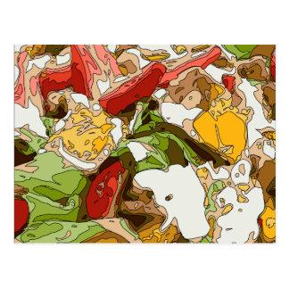 Ensalada deliciosa del tomate, del aguacate y del postal