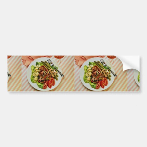 Ensalada vegetal de la carne de vaca deliciosa, bi etiqueta de parachoque