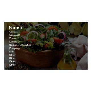 Ensalada vegetal mezclada tarjetas de visita