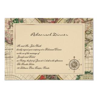 """Ensayo antiguo del boda del mapa de Viejo Mundo Invitación 3.5"""" X 5"""""""