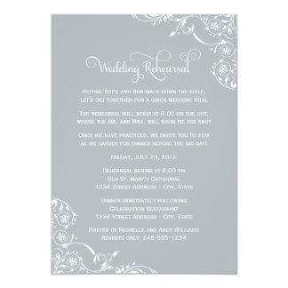 Ensayo del boda y gris de las invitaciones el | de invitación personalizada