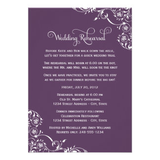Ensayo del boda y púrpura de las invitaciones el | anuncios personalizados