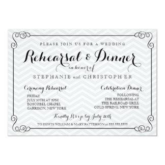 Ensayo elegante del boda de Chevron y invitación