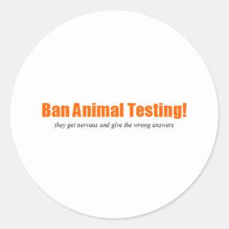 ¡Ensayos con animales de la prohibición Parodia d Etiqueta Redonda