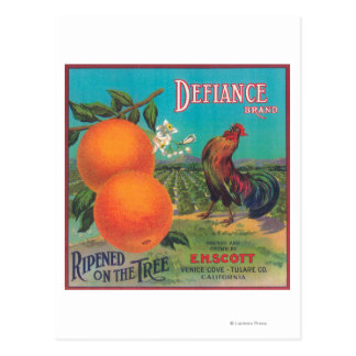 Ensenada anaranjada de LabelVenice del desafío, CA Postales