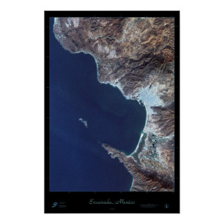 Ensenada, Baja California Mexico satellite poster
