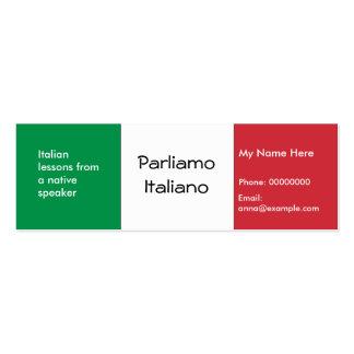 Enseñanza de lengua italiana -- Tarjetas de public Tarjetas De Negocios