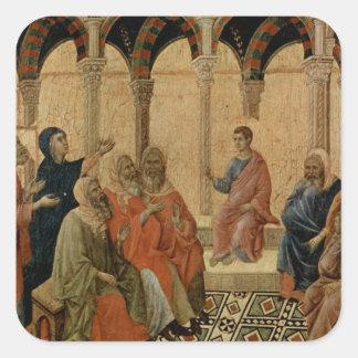 Enseñanza joven de Jesús en el templo Pegatina Cuadrada