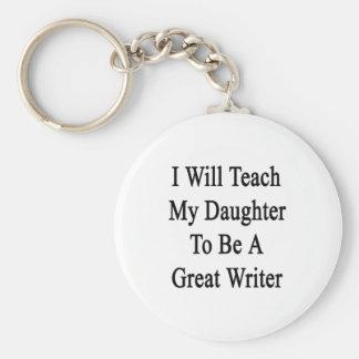 Enseñaré a mi hija a ser gran escritor llavero personalizado
