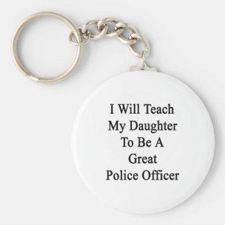 Enseñaré a mi hija a ser una gran policía Offi Llavero Personalizado
